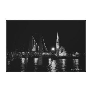 Impressão Em Tela Arte da parede da cena da noite, ponte da rua de