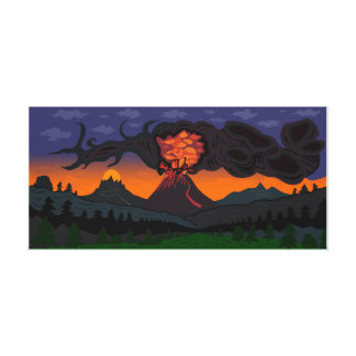 """Impressão Em Tela """"Arte de Roberto Regan do vulcão"""""""