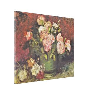 Impressão Em Tela Arte floral GalleryHD das peônias e dos rosas de