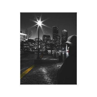 Impressão Em Tela Arte preta & branca da vida nocturna