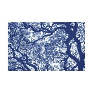 Impressão Em Tela Árvore da magnólia - efeito de Cyanotype