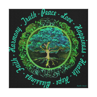 Impressão Em Tela Árvore de vida com com palavras positivas