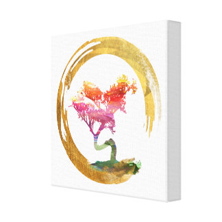 Impressão Em Tela Árvore dos bonsais. Círculo de Enso do zen. Arte