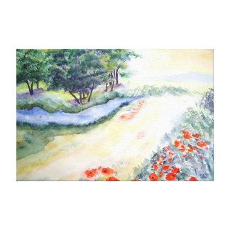 Impressão Em Tela Árvores e papoilas de Bach da arte do Watercolour