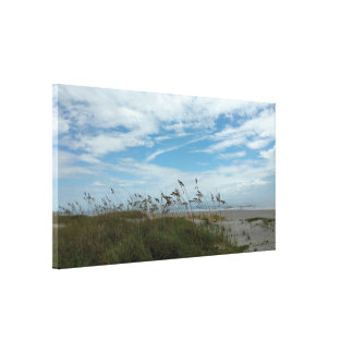Impressão Em Tela As gramas da areia e do mar do céu esticaram o