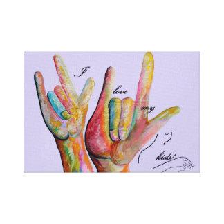 Impressão Em Tela ASL eu amo meus miúdos