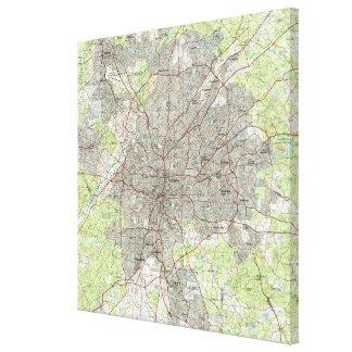 Impressão Em Tela Atlanta Geórgia Mapa (1981)
