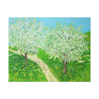 Impressão Em Tela Através do prado - da arte original do Watercolour