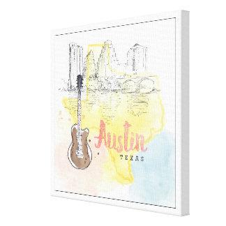 Impressão Em Tela Austin, esboço da aguarela de Texas  