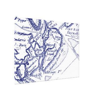 Impressão Em Tela Azuis marinhos do mapa do vintage do SC de Hilton