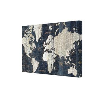 Impressão Em Tela Azul do mapa de Velho Mundo