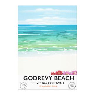 Impressão Em Tela Baía de St Ives da praia de Godrevy, poster de