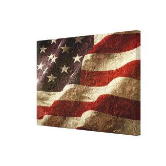 Impressão Em Tela Bandeira americana cinzelada na pedra