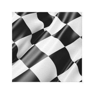 Impressão Em Tela Bandeira de competência de ondulação preto e