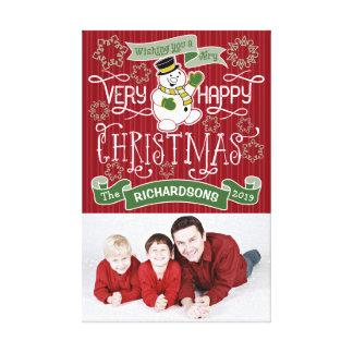 Impressão Em Tela Bandeira do costume da tipografia do Natal feliz