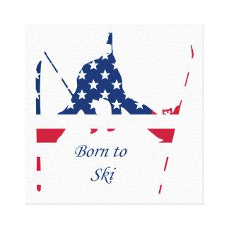 Impressão Em Tela Bandeira dos EUA do americano de esqui de América