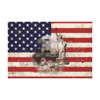 Impressão Em Tela Bandeira e símbolos dos Estados Unidos ID155