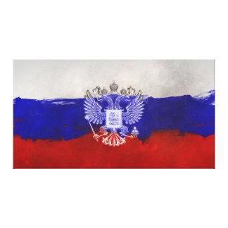 Impressão Em Tela Bandeira pintada afligida de Rússia com Eagle