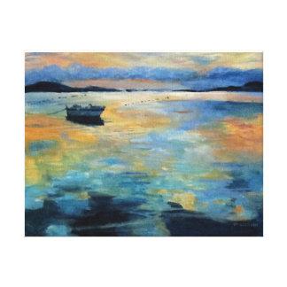 Impressão Em Tela Barco no por do sol