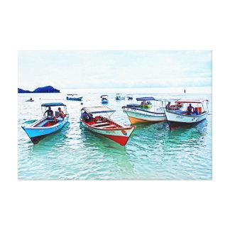 """Impressão Em Tela Barcos de Fisher (""""peñeros """") em Mochicha,"""