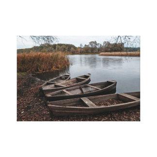 Impressão Em Tela Barcos no banco de rio