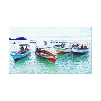 """Impressão Em Tela Barcos panorâmicos de Fisher (""""peñeros """") em"""