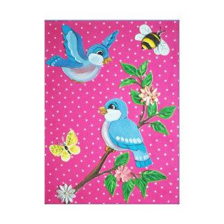 Impressão Em Tela Bebê alegre do olhar do vintage do Bluebird, arte