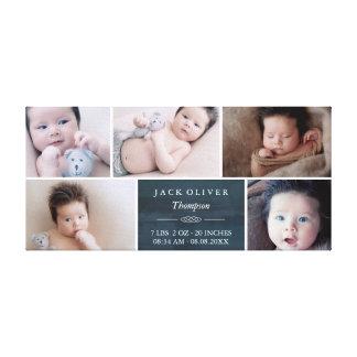 Impressão Em Tela Bebê da colagem da foto dos azuis marinhos & do