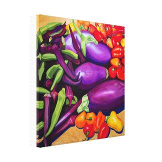 Impressão Em Tela Beringela & pimentas