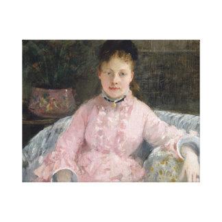 Impressão Em Tela Berthe Morisot - o vestido cor-de-rosa