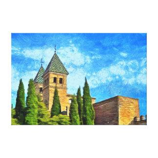 Impressão Em Tela Bloqueie Torre Puerta de Bisagra Nueva em Toledo.