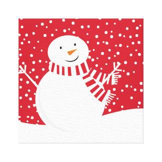 Impressão Em Tela boneco de neve vermelho e branco contemporâneo