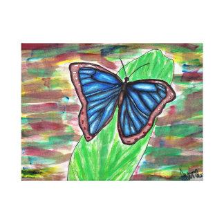 Impressão Em Tela Borboleta azul na folha
