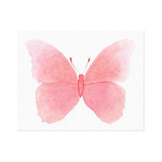 Impressão Em Tela Borboleta cor-de-rosa da aguarela