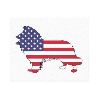 """Impressão Em Tela Border collie - """"bandeira americana """""""