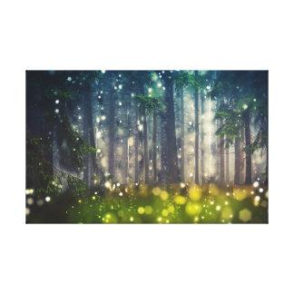 Impressão Em Tela Bosque místico de conto de fadas, árvores,