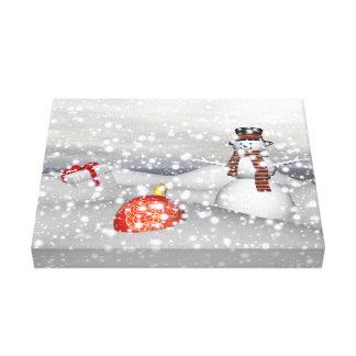 Impressão Em Tela branco e presente do boneco de neve