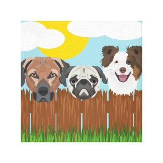 Impressão Em Tela Cães afortunados da ilustração em uma cerca de