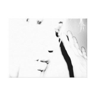 Impressão Em Tela Cara & mão pretas & do branco |