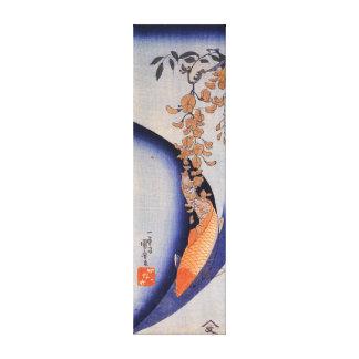 Impressão Em Tela Carpa vermelha de Utagawa Kuniyoshi sob glicínias