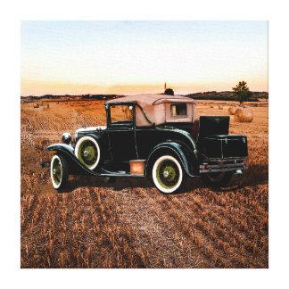Impressão Em Tela Carro retro do vintage legal no rosa e no preto
