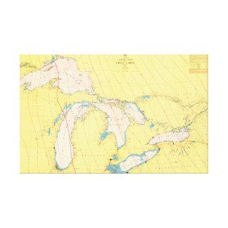 Impressão Em Tela Carta e mapa náuticos dos grandes lagos
