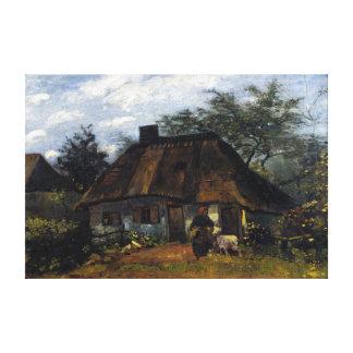 Impressão Em Tela Casa de campo e mulher de Vincent van Gogh com