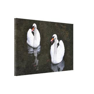 Impressão Em Tela Casal da pintura digital das cisnes