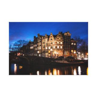 Impressão Em Tela Casas do canal de Amsterdão na noite