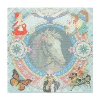 Impressão Em Tela Cavalo branco com ícones do livro de histórias do