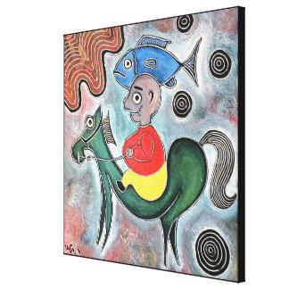 Impressão Em Tela Cavalo do rapaz pequeno e um peixe pelo rafi talby