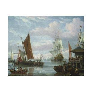 Impressão Em Tela Cena do estuário com barcos e pescador
