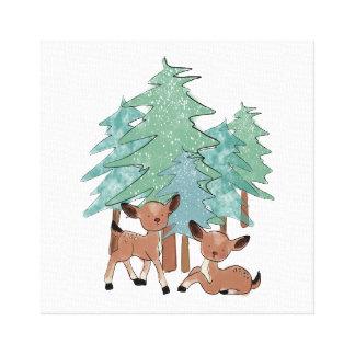 Impressão Em Tela Cervos pequenos em uma paisagem do inverno