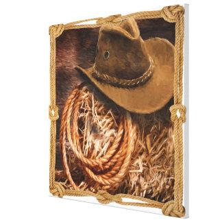 Impressão Em Tela Chapéu de vaqueiro e lariat no pacote da palha